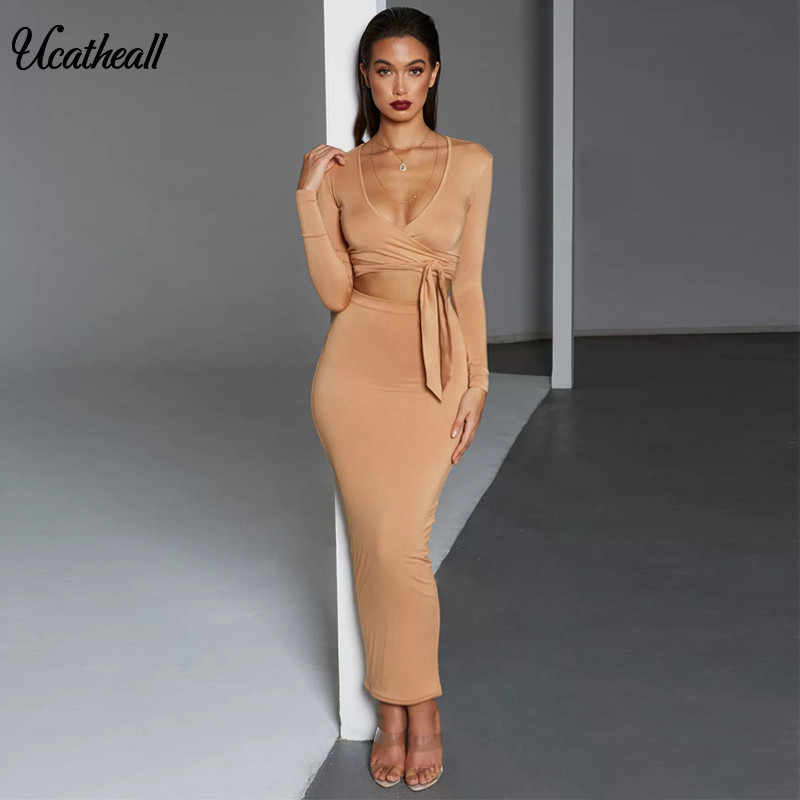 8b02618e2dfbc5 Detail Feedback Questions about 2018 Women Dress Solid Fashion Sexy Party  Dresses Vestidos Deep V Bandage Tie Up Two Piece Dress Party Stretch Pencil  Dress ...