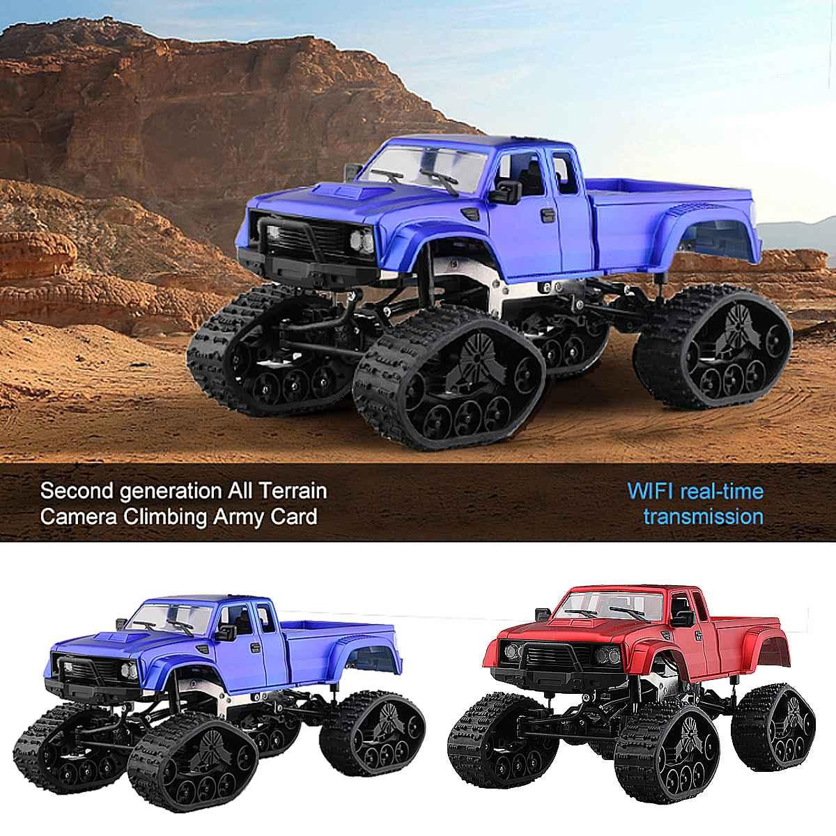 4WD quatre roues motrices voiture camion 1:18 2.4 GHz rouge/bleu télécommande voiture de course RC chenille voiture tout-terrain Buggy véhicules en mouvement