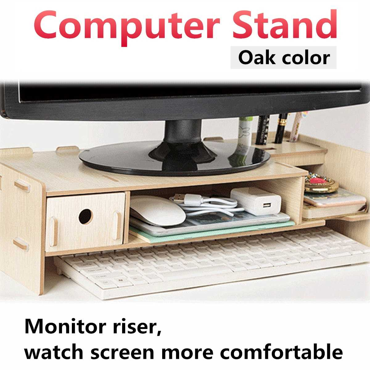 Wooden Multi-function Desktop Monitor Stand Computer Screen Riser Shelf Plinth Strong Laptop Stand Desk Holder For Notebook TV