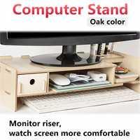 Wooden Multi function Desktop Monitor Stand Computer Screen Riser Shelf Plinth Strong Laptop Stand Desk Holder For Notebook TV