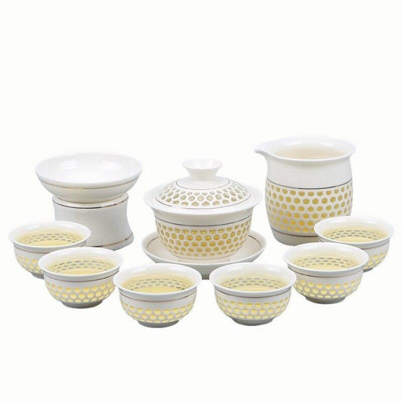 Porcelain Exquisite Tea Set Suit Honeycomb Hollow Out Ceramics Ice Crystals Hive Teapot Teacup A Complete