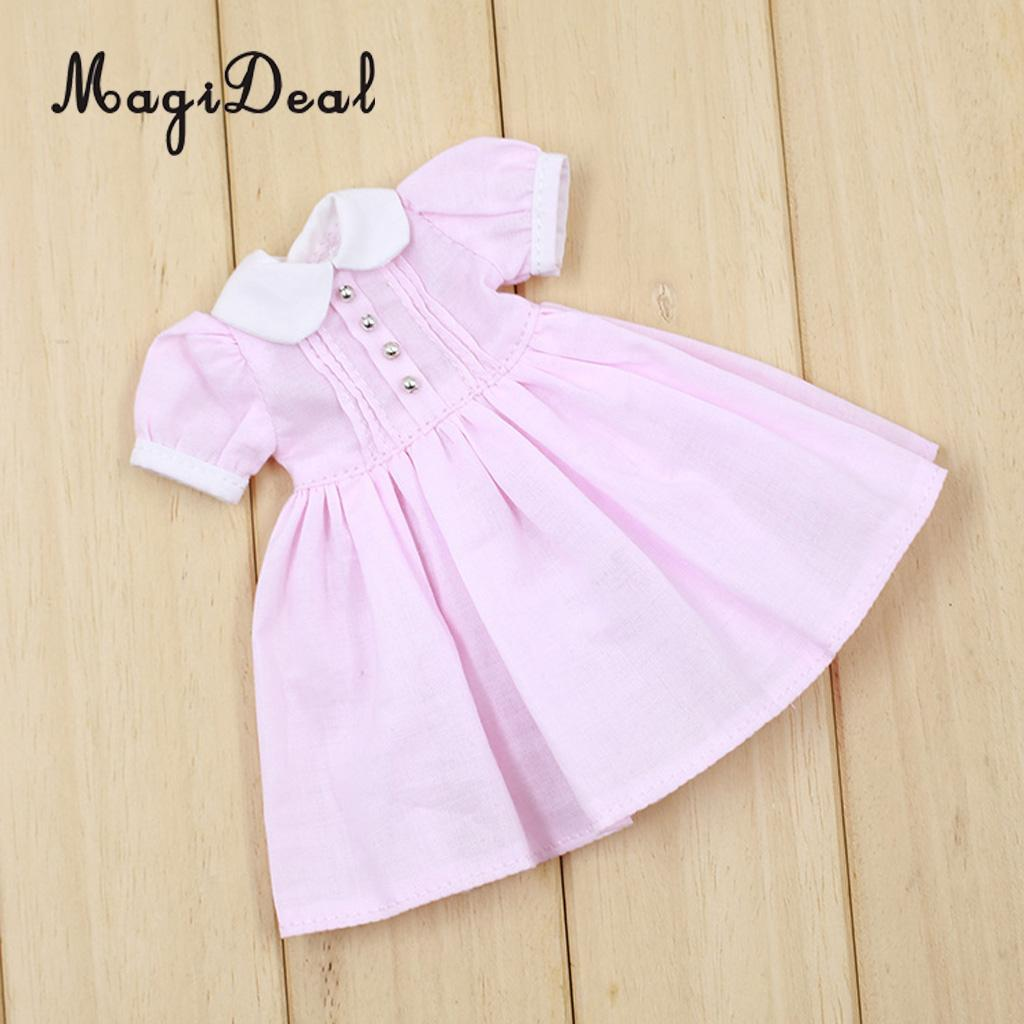 1/6 Trendy Doll Dress Skirt Clothes Outfit For OOAK Doll For Neo For Blythe 12inch Dolls DIY Making Accessories Pink