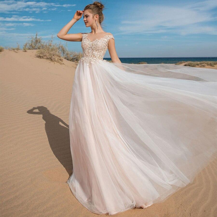 aa0075a3e 2019 verano boda Vestido De apliques De encaje De Novia De tul Vestidos De  ver a través De Vestidos De Novia Vestidos De boda ~ Hot Deal May 2019