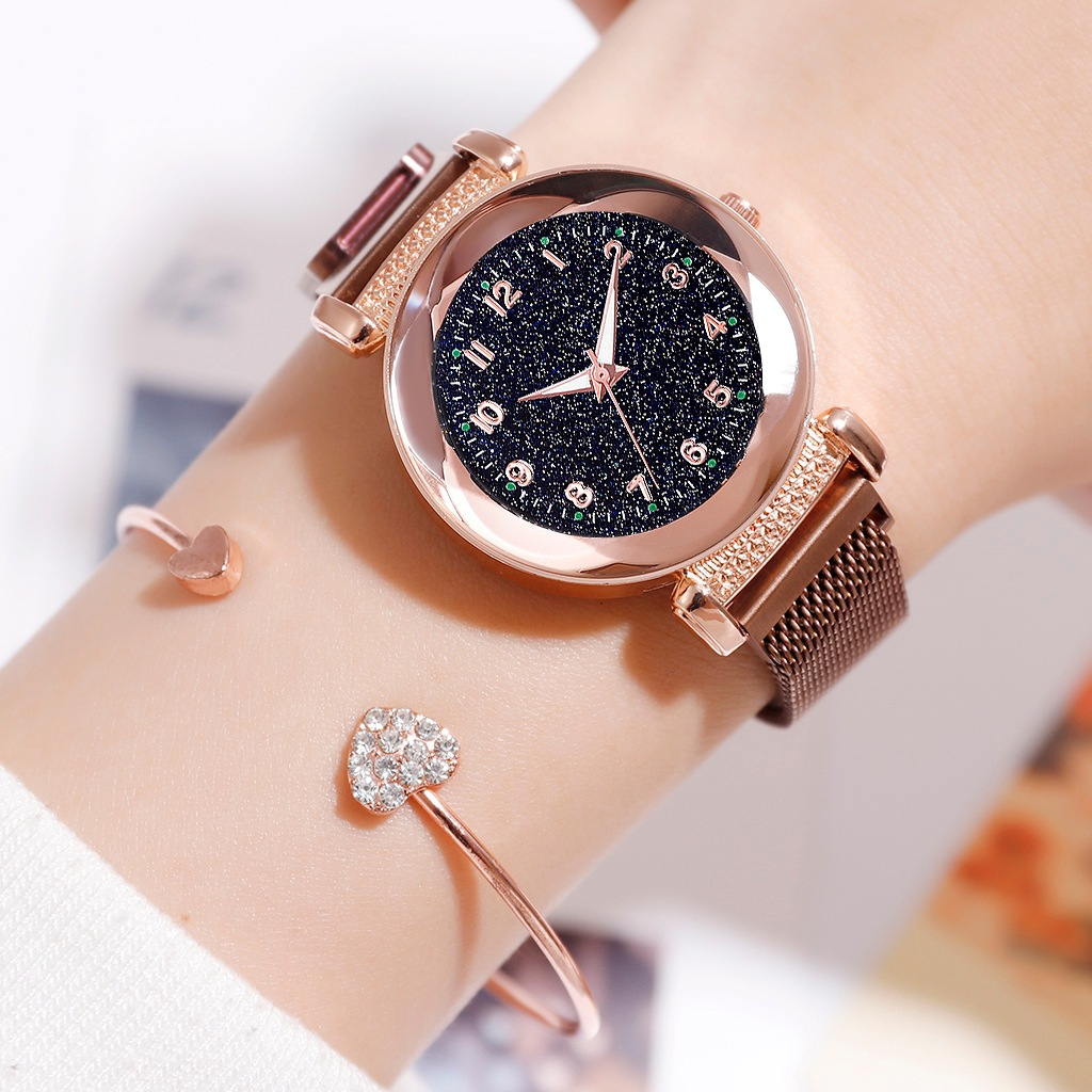 Luxury Luminous Women Watches Starry Sky Magnetic Female Wristwatch Waterproof Number Clock Relogio Feminino Montre Femme 2019