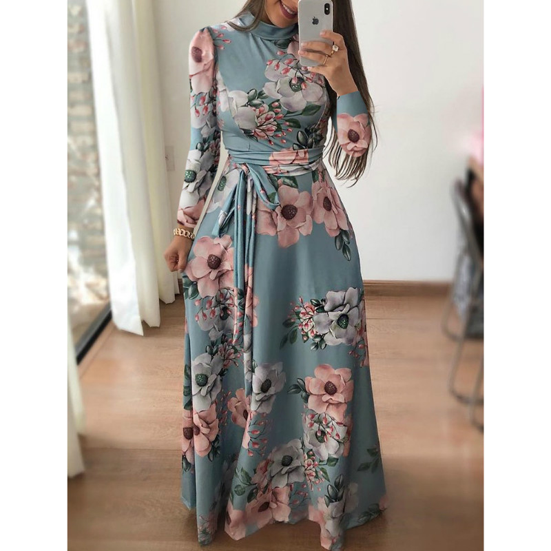 Women Fit And Flare Spring Autumn Dress Bohe Floral Print Stand Neck Floral Dress Elegant High Waist Women Long Dresses