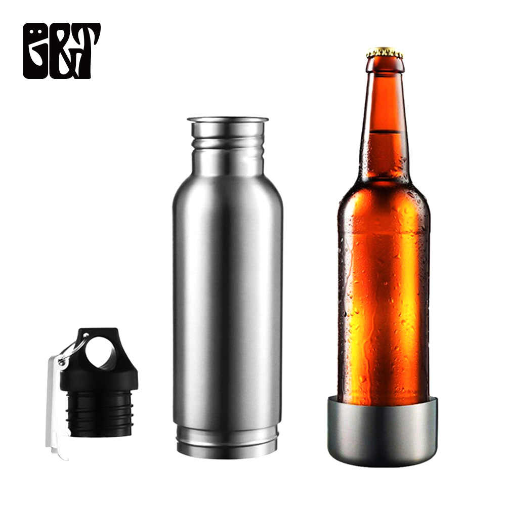 GT 12oz 2 In 1 Stainless Steel Beer Bottle Insulator Thermos Cola Bottle With Opener Insulator + Cover Holder Sets Travel Sports
