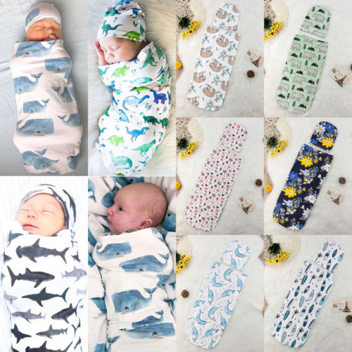 2pcs Newborn Baby Swaddle Swaddling Soft Warm Cotton Deer Blanket Hat Outfits