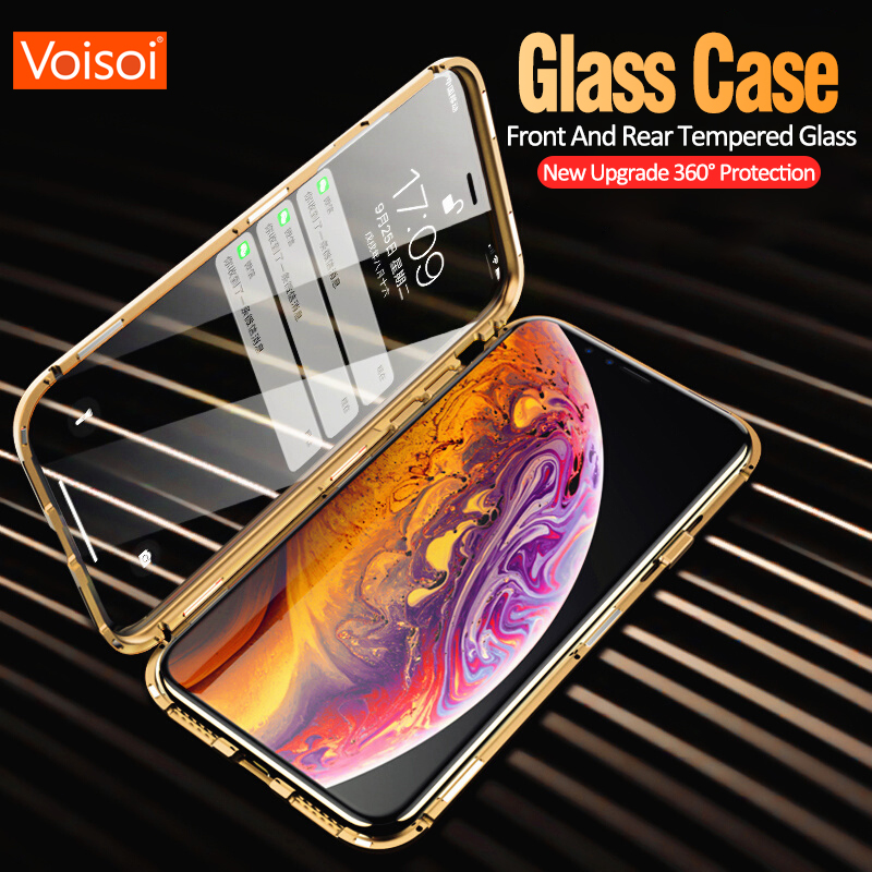 Double sided glass Metal Magnetic Case for iPhone X 10 XS MAX XR Glass Case Magnet Cover 360 Full Protection For iphone XS MaxDouble sided glass Metal Magnetic Case for iPhone X 10 XS MAX XR Glass Case Magnet Cover 360 Full Protection For iphone XS Max
