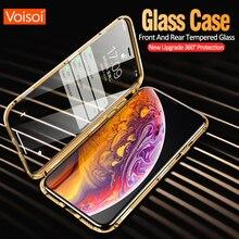 جهين الزجاج المعادن المغناطيسي حقيبة لهاتف أي فون X 10 XS ماكس XR الزجاج حالة المغناطيس غطاء 360 الحماية الكاملة ل iphone XS ماكس
