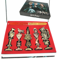 5pcs/set Harri Potter Hogwarts Gryffindor Ravenclaw Brass Head Metal Figure Model Toy Badge Sealing Wax Seal Stamp Sets Gift Box