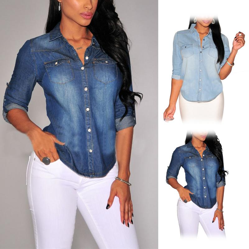 2018 New Fashion Women Casual Blue Jean Denim Long Sleeve Shirt Tops Summer Autumn Ladies Fashion Casual Jeans Clothes