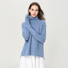 Rabbit hair blends sweater pullover damen thick winter turtleneck loose irregular split knitted women women1890