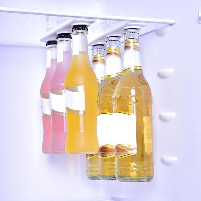 6 Pcs Magntic Bottle Hanger Holder Beer Loft Magnetic Beer Bottle & Jar Hanger For Fridge Organize Magnet Storage Holders Strips