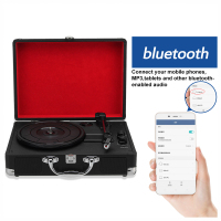 Vintage 33/45/78 RPM bluetooth Portable Suitcase Turntable Vinyl LP Record Phone Player 3 Speed Aux in Line out 100 240V