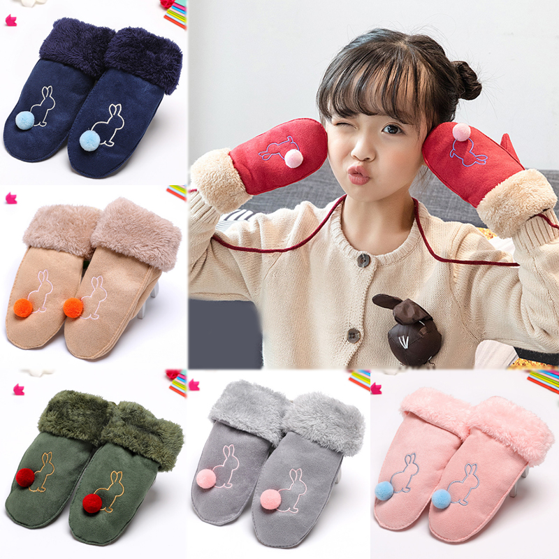 LNRRABC 2018 New 1Pair Embroidery Korean Version Mittens Lovely Gloves Hairball Children Cartoon Rabbit Keep Warm Suede