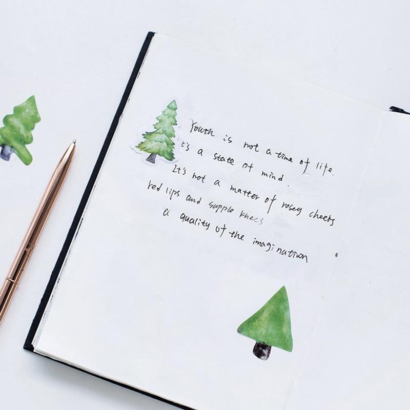 Купить с кэшбэком EZONE Green Tree Stationery Sticker Adhesive Scrapbooking Decor Sticker DIY Diary Photo Photo Album Decoration Gift For Friends