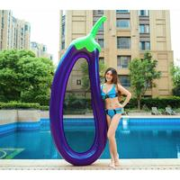 1PC Inflatable PVC Eggplant Shape Portable Thicken Floating Row Sunbathe Bed Swimming Ring for Men Child Adult Women Beach Pool
