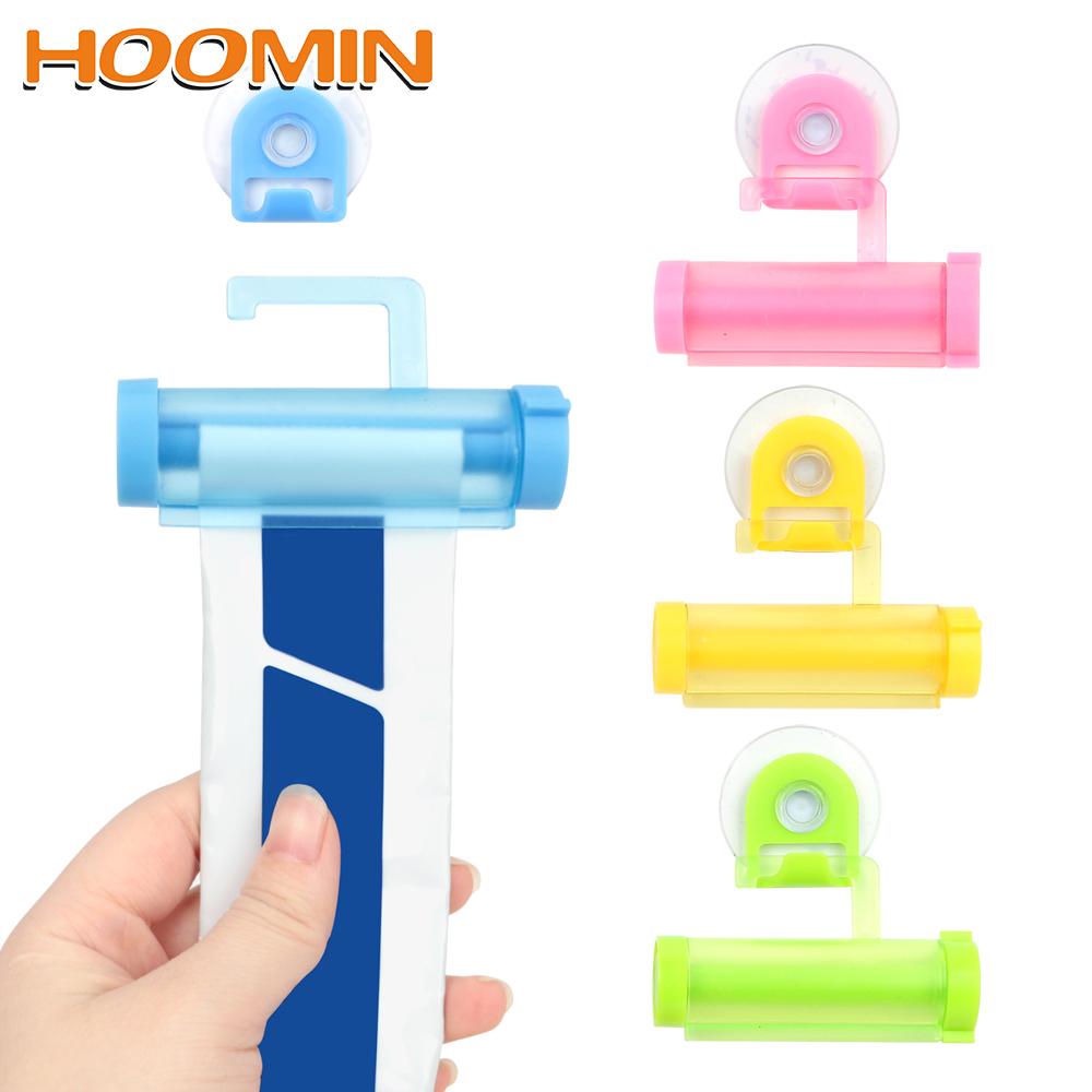 HOOMIN Facial Cleanser Squeezer Clip Tube Squeezer Toothpaste Dispenser Vacuum Sucker Hook Dispenser Squeeze(China)