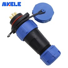 цена на Waterproof Connector Male And Female Flange Socket Aviation Plug SP21-5P 21mm Suitable For 8-12mm Cable Conversion Plug