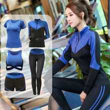 5 Pieces Sets Coat+t Shirt+bra+shorts+leggings Women Yoga Clothing Quick Dry Outdoor Sports Running Fitness Gym Ropa Deportiva