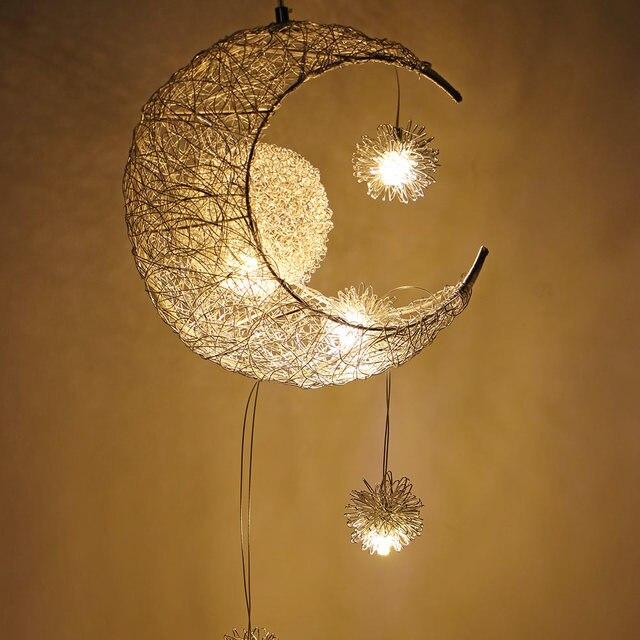 Modern Led Chandelier Lighting Moon Star Lamp Pendant Re Hanging Fixtures Child Kids Room Decor