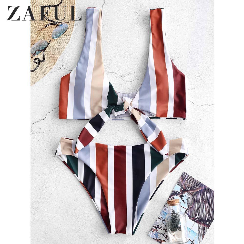 ZAFUL Colorful Striped Knot Tank Bikini Set Wire Free Elastic Pull Over Swim Suit Women Vacation Beach Bathing Suit 2019