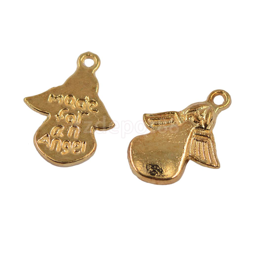 50Pcs Bulk MADE FOR AN ANGEL Angel Label Charms Pendants DIY Jewelry Making Findings Light Gold