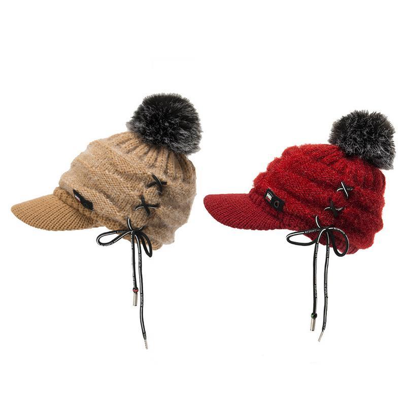 2018 Women Skullies Beanies Hat Fashion Winter Hats For Women Winter Beanie Wool Fur Ball Cap Warm Thick Visor Knitted Hat