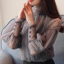Plus Size 2XL Women Beading Pearl Shirt Lantern Sleeve Mesh Perspective Blouse 2019 Spring Fashion Korean Elegant  Chiffon Tops plus pearl beading bell sleeve jumper