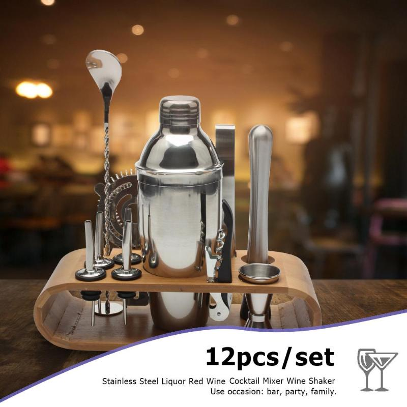 12pcs/set 550ML Stainless Bar Cocktail Shaker Set Barware Set Shaker Set with Wooden Rack