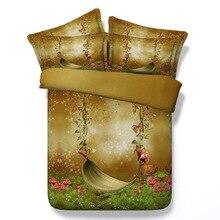 King пододеяльник домашний текстиль 3D высокой четкости цифровой печати из трех частей бабочка завод цветок европейский и американский стиль