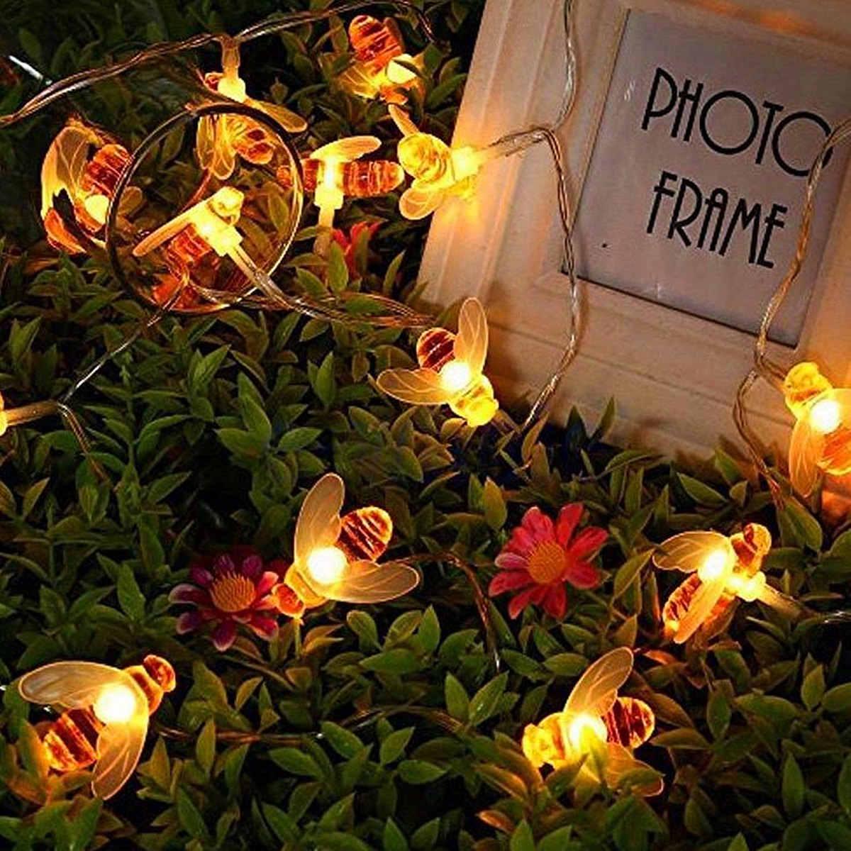 Открытый сад 30 светодиодный Сказочный свет на солнечных батареях медовая пчела Праздничная осветительная Подвесная лампа вечерние украшения 6,5 м водонепроницаемый