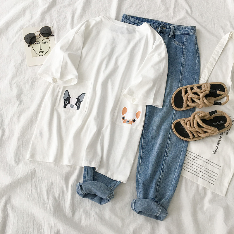 Lovely Oversize T shirt Set Women Two Pieces Set Summer White Dog Pattern Pullover + Denim Pant Set Long Pants Summer Set