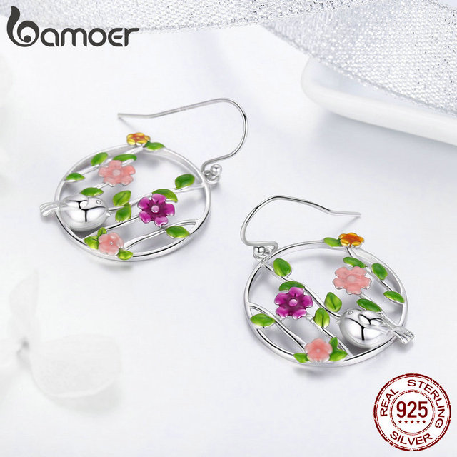 925 Sterling Silver Blooming Forest Birds Secret Drop Earrings 2