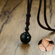 Vnox Vintage Natural Obsidian Lucky Bead Necklaces for Women Man with Adjustable Length Rope Choker collar Unisex Jewelry(China)