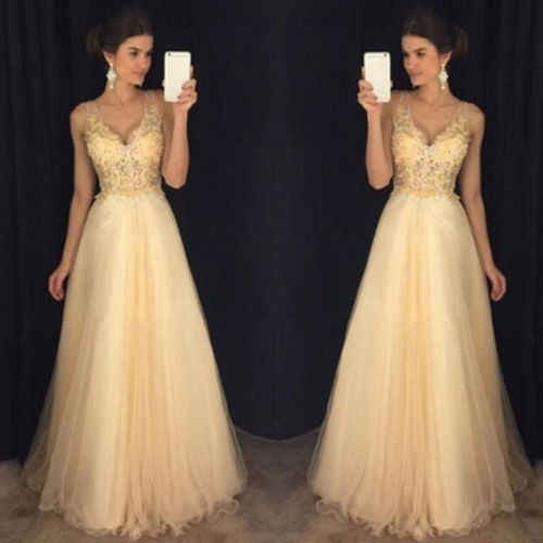 ... 2019 Yellow Maxi Dress Women Formal Prom Sleeveless V Neck Long Lace  Sequin Dress Evening Party ... 493f9b882361