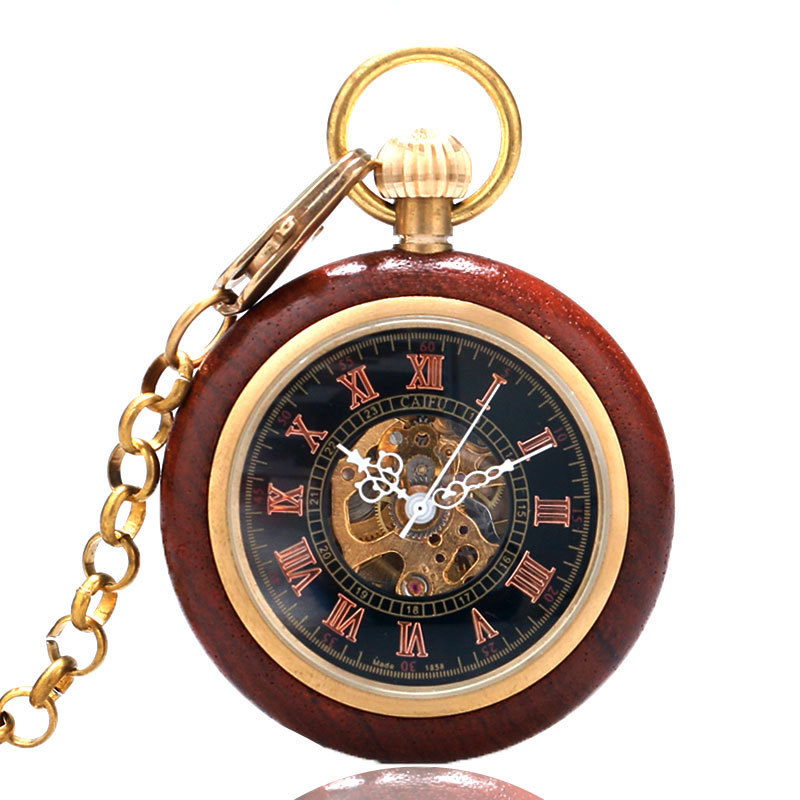 Vintage Wood Mechanical Pocket Watch Men Gold Hand Wind Skeleton Pocket Watches Steampunk Roman Numerals Wooden With Chain Gift