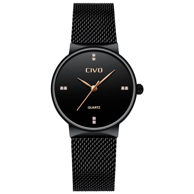 CIVO Fashion Elegant Quartz Watches Women Black Steel Mesh Strap WristWatches Waterproof Watch Ladies Clock Reloj Mujer