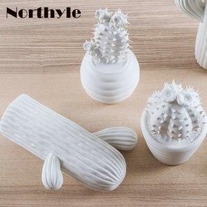 Image 4 - Moderne weiß keramik kaktus dekoration weihnachten geschenk figuren porzellan kunst handwerk für home ornament zubehör feng shui decor