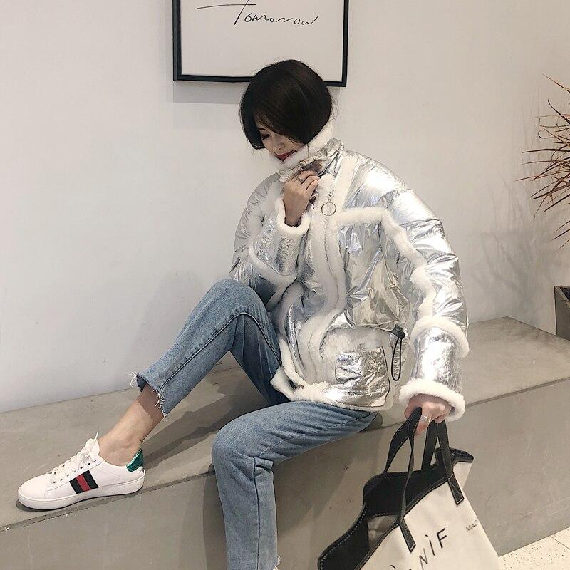 Verni Mode Blanc Fourrure Manteau black Silver Cuir Femmes 2018 Dos Mouton Ptslan Veste space Duvet Moutons White Canard Atmospheric Nouvelles De And En Hiver Peau P4885 Laine Black W6g8WpqvY