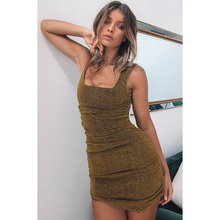 Summer Slim Bodycon Party Shiny Dress Casual Clubwear Women Backless  Glitter Dress Sexy Strapy Tight Dresses 19f9df7d5e87