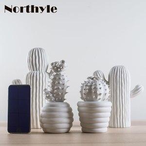 Image 5 - Moderne weiß keramik kaktus dekoration weihnachten geschenk figuren porzellan kunst handwerk für home ornament zubehör feng shui decor
