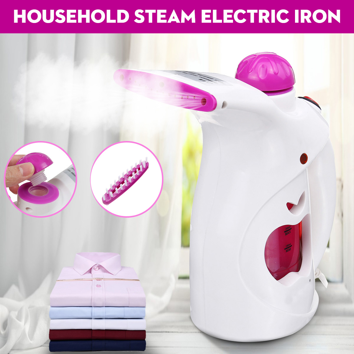 200ML Handheld Garment Steamer Mini Portable Clothes Steam Electric Iron For Household Humidifier Facial Steamer With Brush