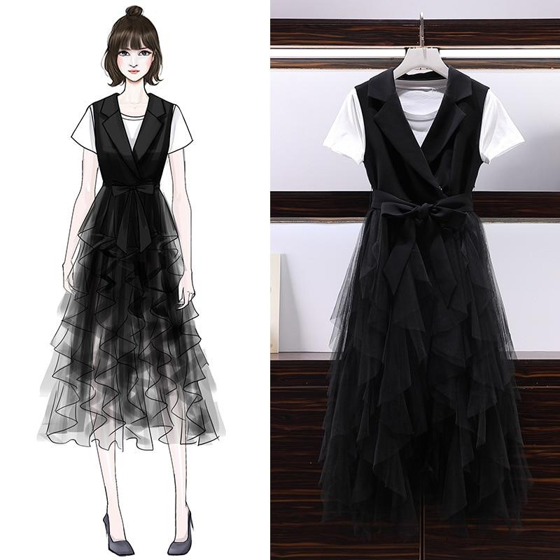 ICHOIX XL 5XL 2 Pieces dress sets women plus size t shirt and mesh skirt sets