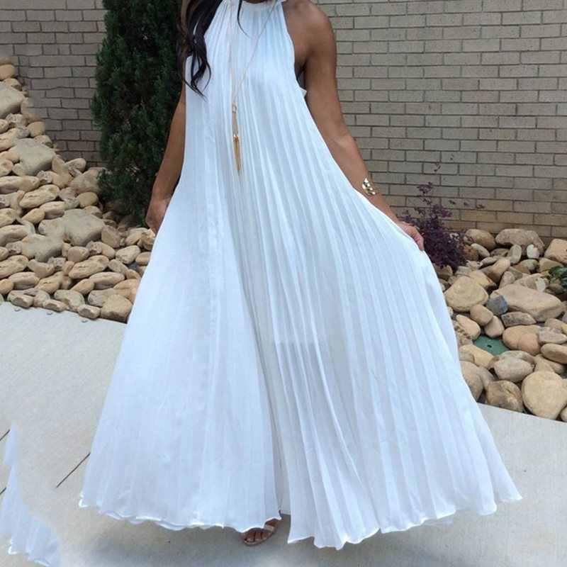 Белое платье макси для женщин 2019 сексуальный сарафан с открытыми плечами вечерние элегантные летние свободные модные однотонные Холтер синие Плиссированные Длинные платья