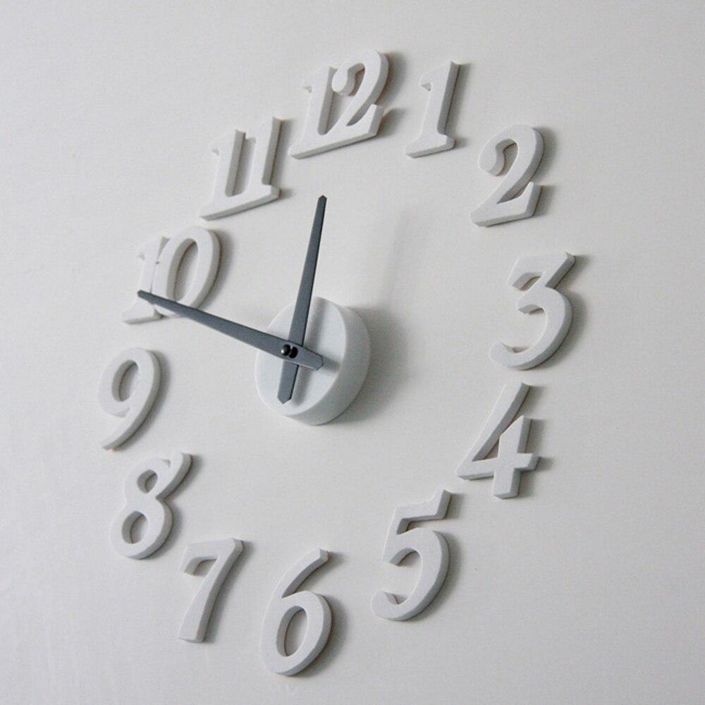 3D DIY Wall Clock Art Modern Design Living Room Interior Decoration Needle Quartz Clocks White Stickers Watch Home Decor Z085