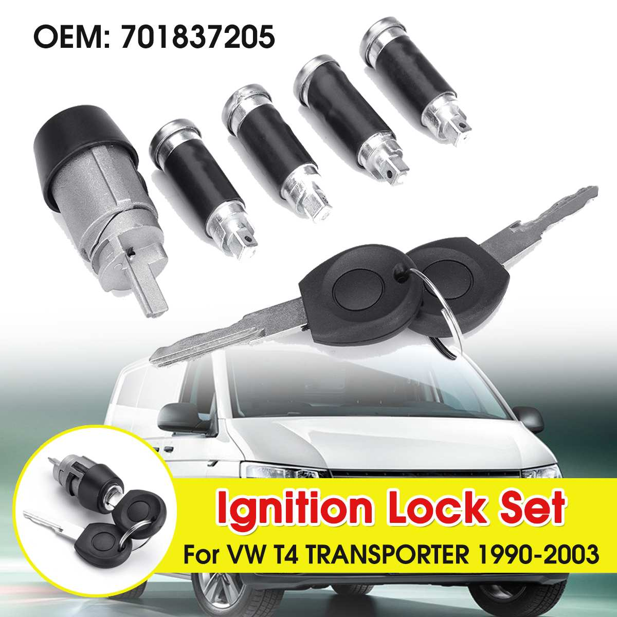 2 Keys Ignition Switch Door Lock Barrel Set For VW T4 Caravelle 1990-2003 Transporter Double Barn Doors