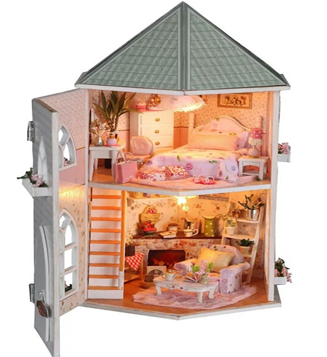 DIY House Love Fortress Wooden Assemble Building Model House Valentine Christmas Gift DIY For Women Gift 30 X 20 X 29cm