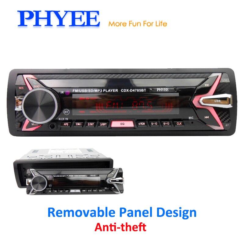 Detachable Car Radio Bluetooth Autoradio USB 1 Din Stereo Audio MP3 Player SD Aux-in FM Tuner High Power Head Unit PHYEE 4785BT