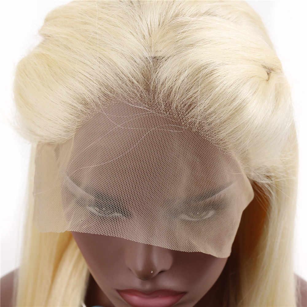 Tutkalsız 613 Sarışın Dantel Ön Peruk Ile Bebek Saç Ön pluked Perulu Remy 13*4 Dantel Frontal Peruk kadın Sarışın Düz Peruk